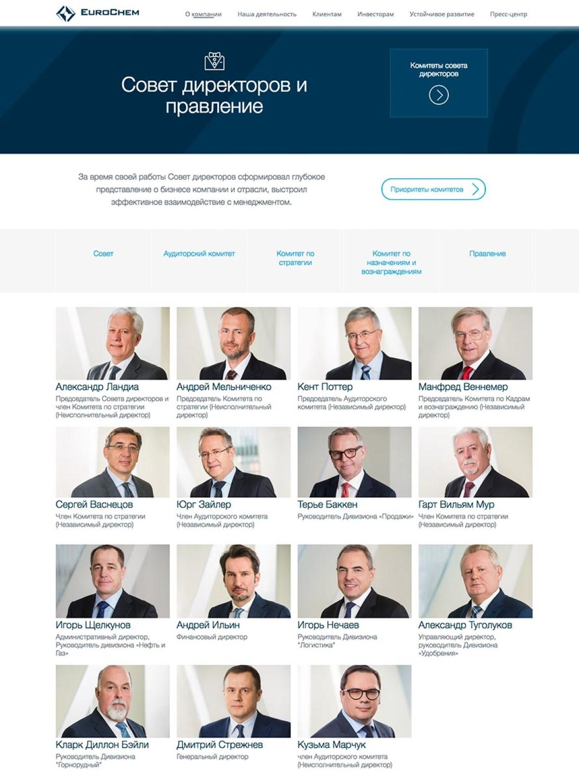 Бизнес портрет совета директоров Еврохим