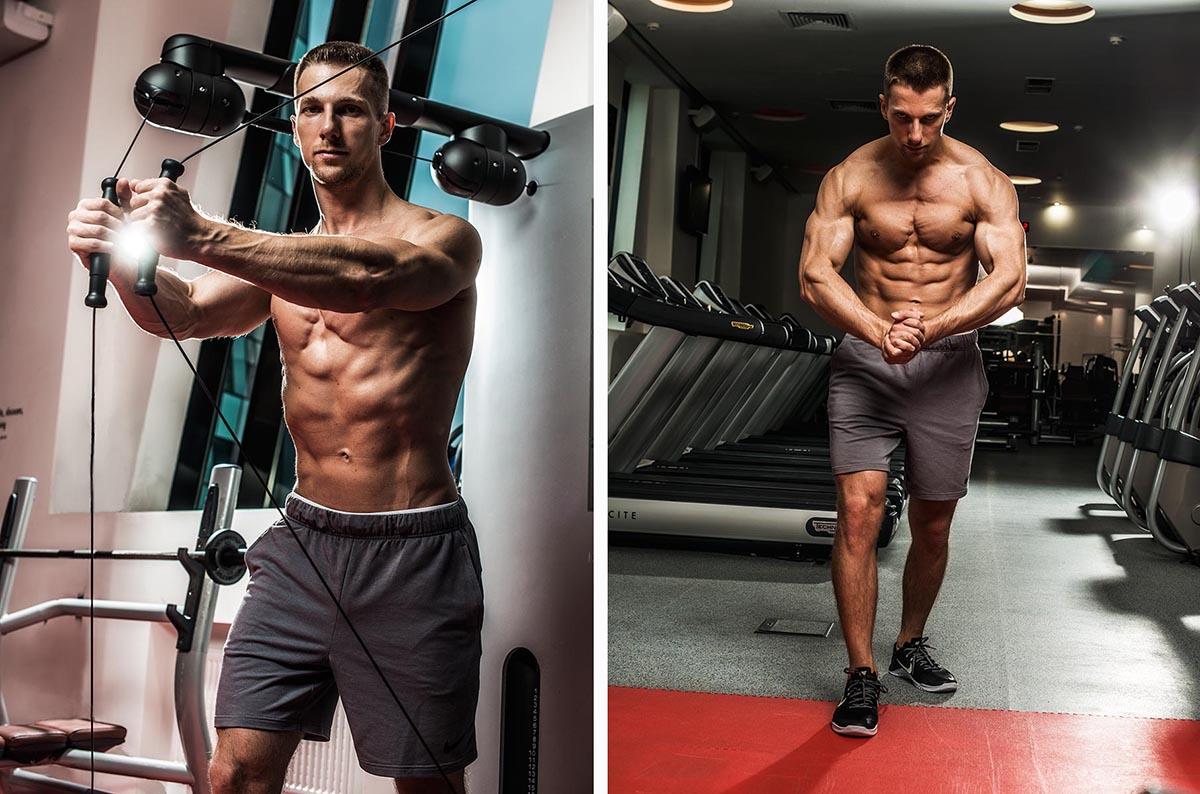 Пример мужской фитнес съёмки в спортзале