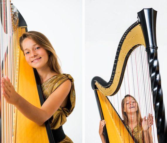 Девушка и арфа. фотосессия музыканта