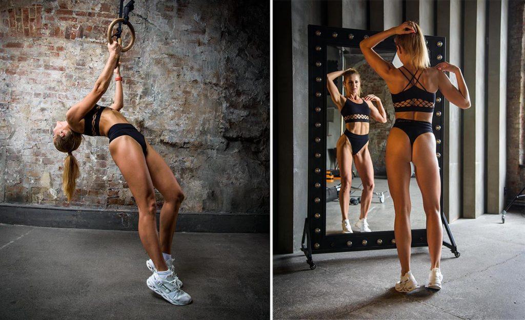 Фитнес фотосессия для девушки в спортзале