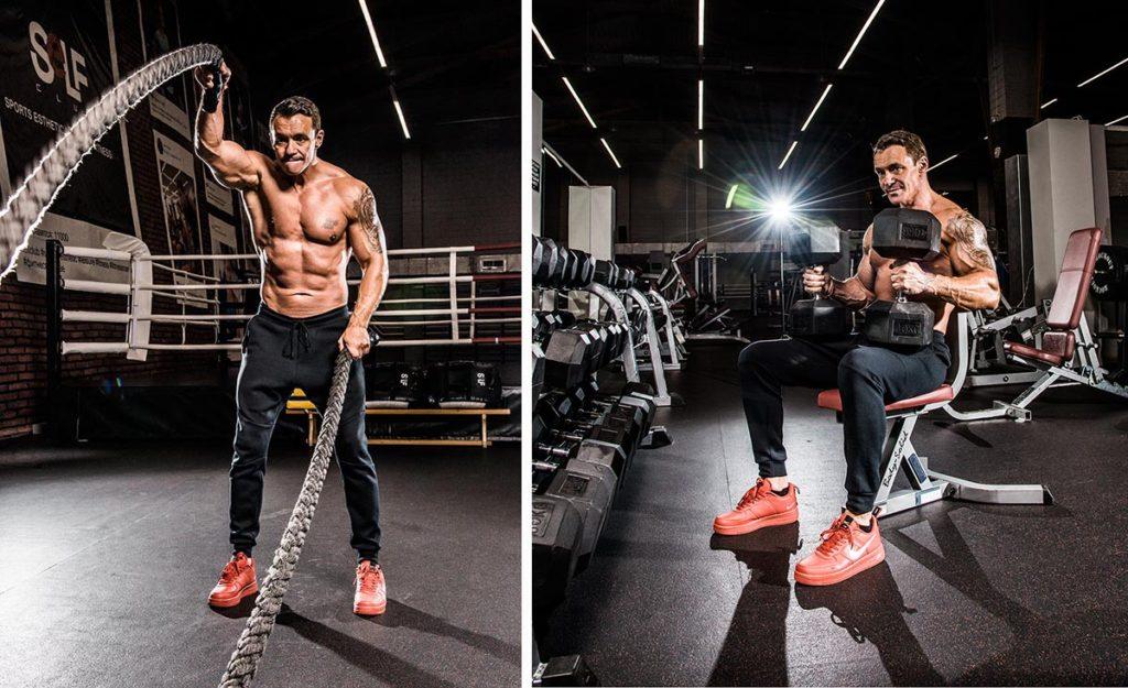 Пример мужской фитнес фотосессии в спортзале